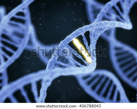 DNA molecule spiral structure with unique connection on abstract dark background. Genetics, GMO and biotechnology concept. 3D illustration - stock photo