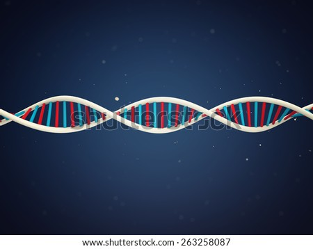 DNA Strand witch micro particles environment  - stock photo