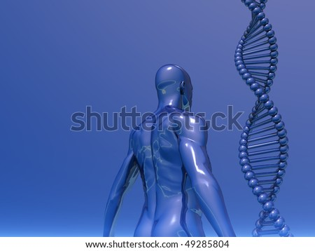 DNA strands and human body on blue background - 3d illustration - stock photo