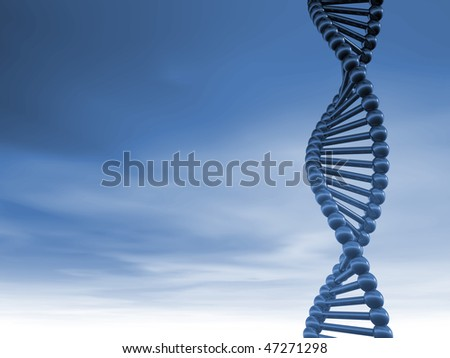 DNA strands on cloudy background - 3d illustration - stock photo