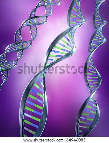DNA Strands - Simple and dual helix - stock photo