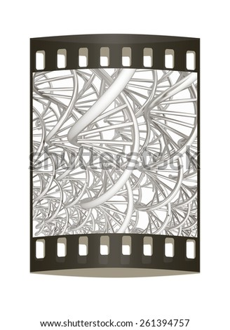DNA structure model background. The film strip - stock photo