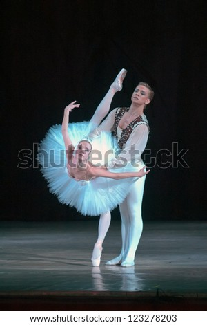 "DNEPROPETROVSK, UKRAINE - DECEMBER 28: ""Swan Lake"" ballet performed by Dnepropetrovsk Opera and Ballet Theatre ballet on December 28, 2012 in Dnepropetrovsk, Ukraine. - stock photo"