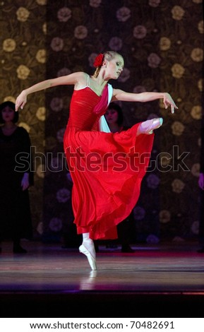 DNEPROPETROVSK, UKRAINE - OCTOBER 16: Lady with camellias ballet performed by Dnepropetrovsk Opera and Ballet Theatre ballet on October 16, 2008 in Dnepropetrovsk, Ukraine. - stock photo