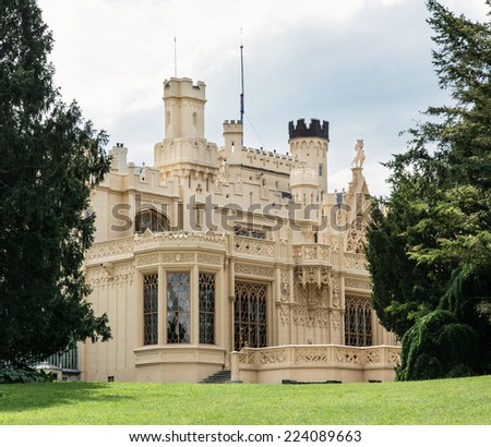 dnice castle, Moravia, Czech republic. In 1996 it was inscribed on the UNESCO World Heritage List. Tourist destination. - stock photo