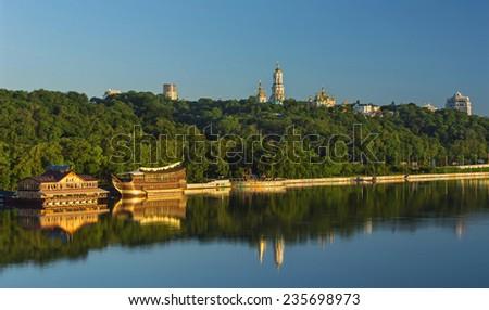 Dnipro riverside in Kiev, Ukraine - stock photo