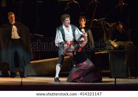DNIPRO, UKRAINE - JUNE 23, 2016: Members of the Dnepropetrovsk State Opera and Ballet Theatre perform CARMEN  - stock photo