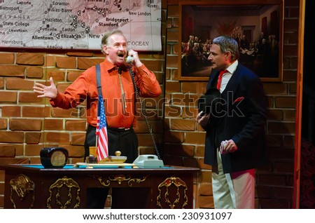 DNIPROPETROVSK, UKRAINE - NOVEMBER 15: Members of the Dnepropetrovsk State Russian Drama Theatre perform LADY FOR A DAY on November 15, 2014 in Dnipropetrovsk, Ukraine - stock photo
