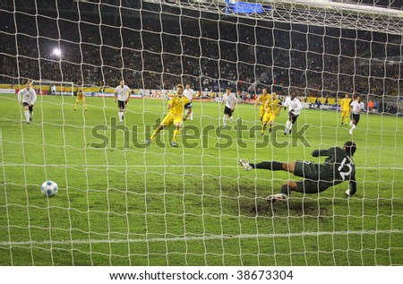 DNIPROPETROVSK, UKRAINE - OCTOBER 10: Ukrainian forward Andriy Shevchenko misses the penalty during the FIFA WC2010 Qualifying match between Ukraine and England on October 10, 2009 in Dnipropetrovsk - stock photo