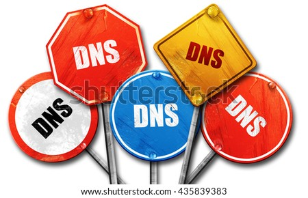 dns, 3D rendering, rough street sign collection - stock photo