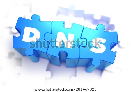 DNS - Domain Name System - White Word on Blue Puzzles on White Background. 3D Illustration. - stock photo