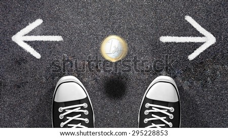 Do I have to go left or right? Making a decision or coin flipping? Conceptual illustration with two arrows indicating two opposite directions, a choice to do. - stock photo