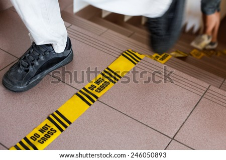 Do not cross sign, forensic line, investigation in progress.  - stock photo