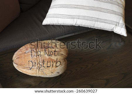 do not disturb on dry coconut in the resort room - stock photo