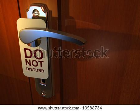 Do Not Disturb' sign hanging from hotel door handle - 3d render - stock photo