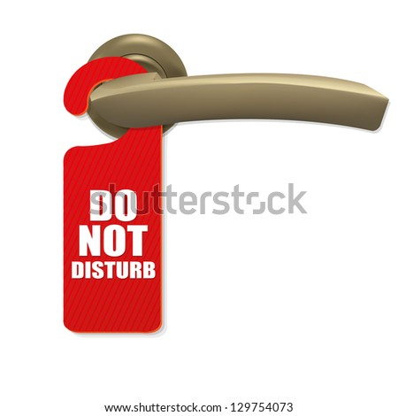 Do Not Disturb Sign With Copper Door Handle, Isolated On white Background - stock photo