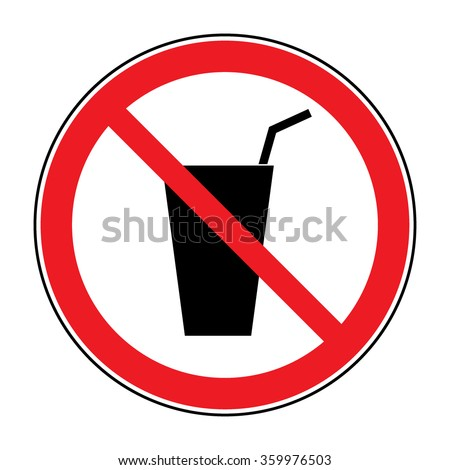 Do not drink icon. No drink sign isolated on white background. Red circle prohibition symbol. Stop flat symbol. Stock  - stock photo