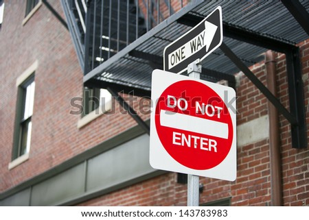 Do Not Enter and One Way sign - stock photo