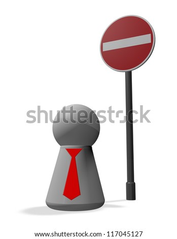 do not enter - roadsign and simple character with tie - 3d illustration - stock photo
