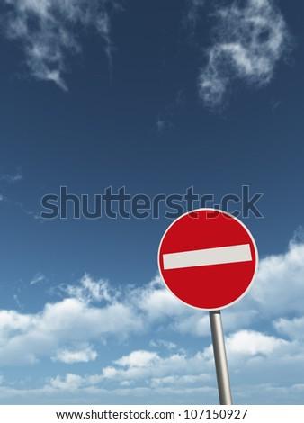 do not enter - roadsign under cloudy blue sky - 3d illustration - stock photo