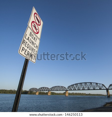 Do not launch boat before get permission - stock photo