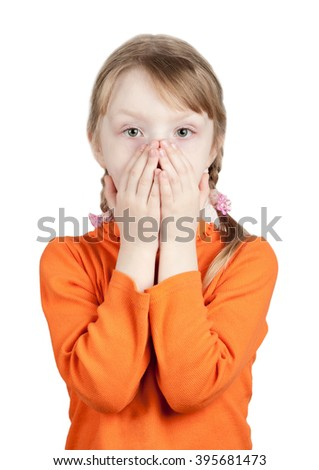 Do not say anything. The little girl does not want to talk and smile. Isolated on white background, with clipping path - stock photo