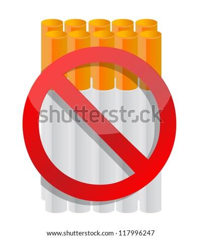do not smoke cigarette illustration design over white - stock photo