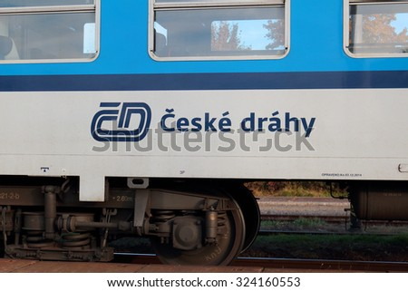 DOBRANY, CZECH REPUBLIC - OCTOBER 5, 2015: Express train Ceske drahy in the railway station. Ceske drahy or Czech Railways is the main railway operator in the Czech Republic. - stock photo