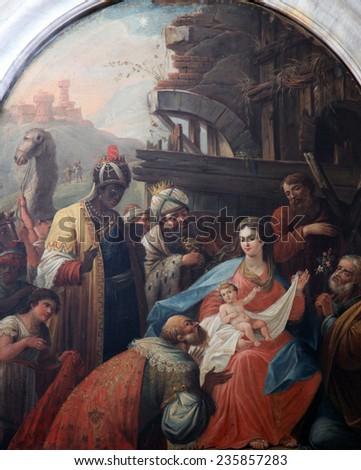 DOBROTA, MONTENEGRO - JUNE 09, 2012: Nativity Scene, Adoration of the Magi, Catholic Church Saint Eustache in Dobrota, Montenegro, on June 09, 2012. - stock photo