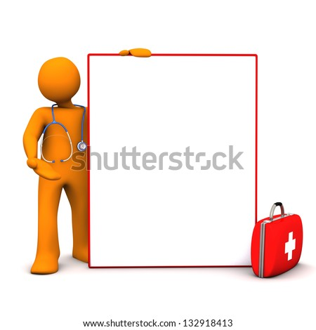 Doc with stethoscope, case and signboard on the white background. - stock photo