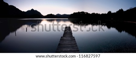 Dock on the lake night - stock photo