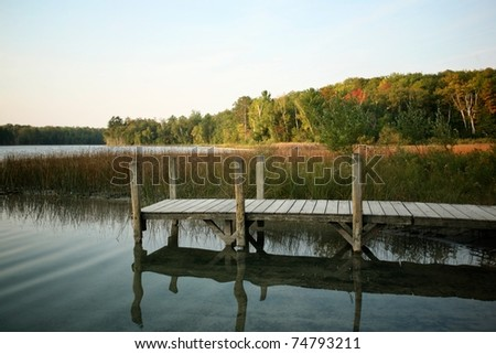 Dock Set in an Autumn Landscape - stock photo