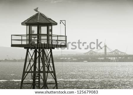 Dock towen of Alcatraz prison - stock photo