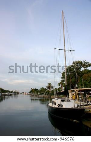 Docked Sailboat in Florida - stock photo