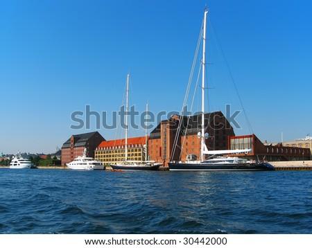 Docked yachts in Copenhagen, Denmark - stock photo