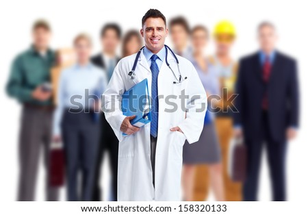 Doctor and a group of workers. Job safety. - stock photo