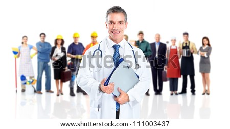Doctor and a group of workers people. Isolated on white background. - stock photo