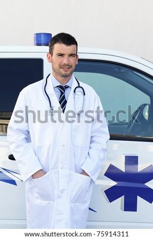 doctor and ambulance - stock photo