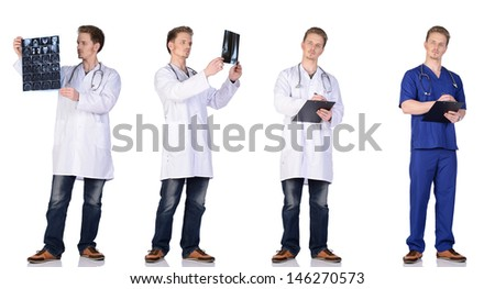 Doctor and  intern with MRI snapshot, clipboard and phonendoscope. Isolated on white background. - stock photo
