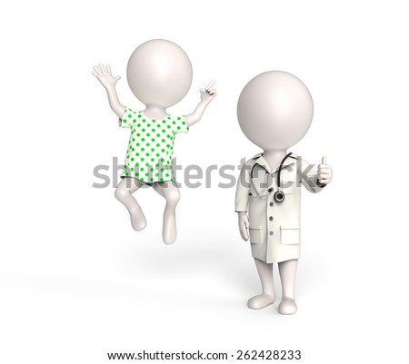 Doctor and patient in good mood - stock photo