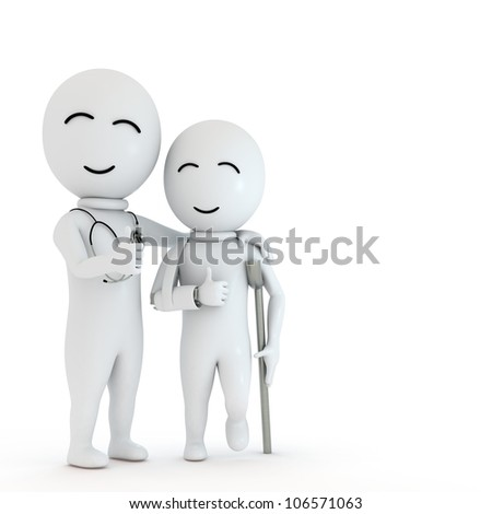 Doctor and Patient isolated on white background - stock photo