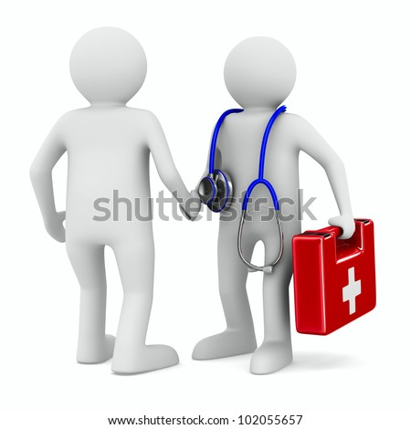 doctor and patient on white background. Isolated 3D image - stock photo