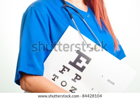 doctor and test for eye examination - stock photo