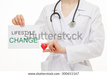 Doctor calling to healthy lifestyle, white background - stock photo