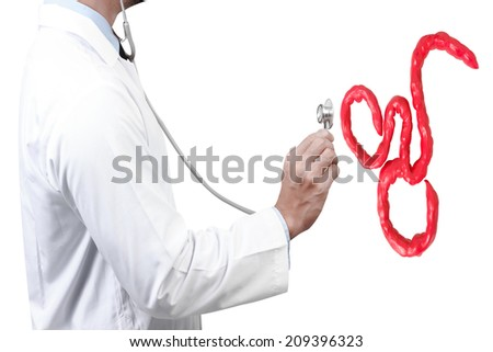 doctor diagnosis with stethoscope listening ebola virus simulated on white background with clipping path - stock photo