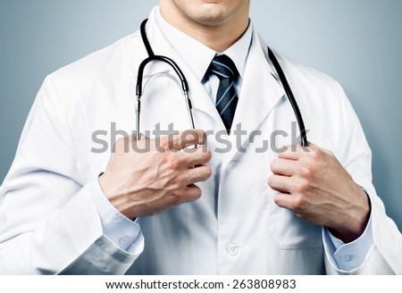 Doctor. Doctor with a stethoscope - stock photo