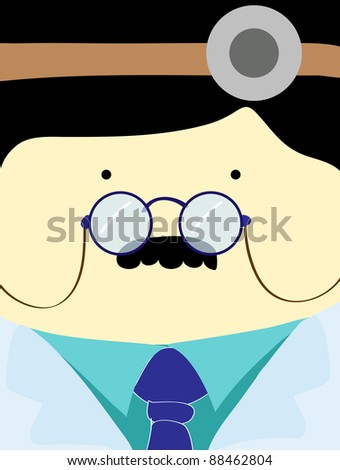 Doctor face with stethoscope , cartoon illustration - stock photo