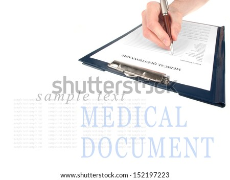 Doctor filling in medical questionnaire form in a clipboard isolated on white background  - stock photo