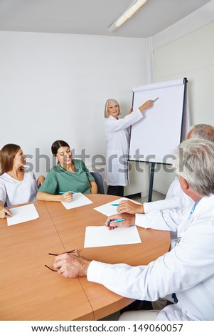 Doctor giving lecture at team meeting in a hospital room - stock photo