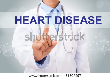 Doctor hand touching heart disease sign on virtual screen. medical concept - stock photo